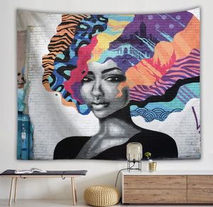 Mural Wall Mordern Afro Art Colorful Hairstyle Black Girl Tapestry
