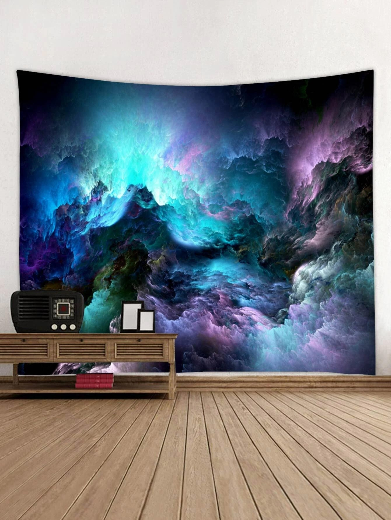Mysterious Deep Blue Space Clouds Tapestry