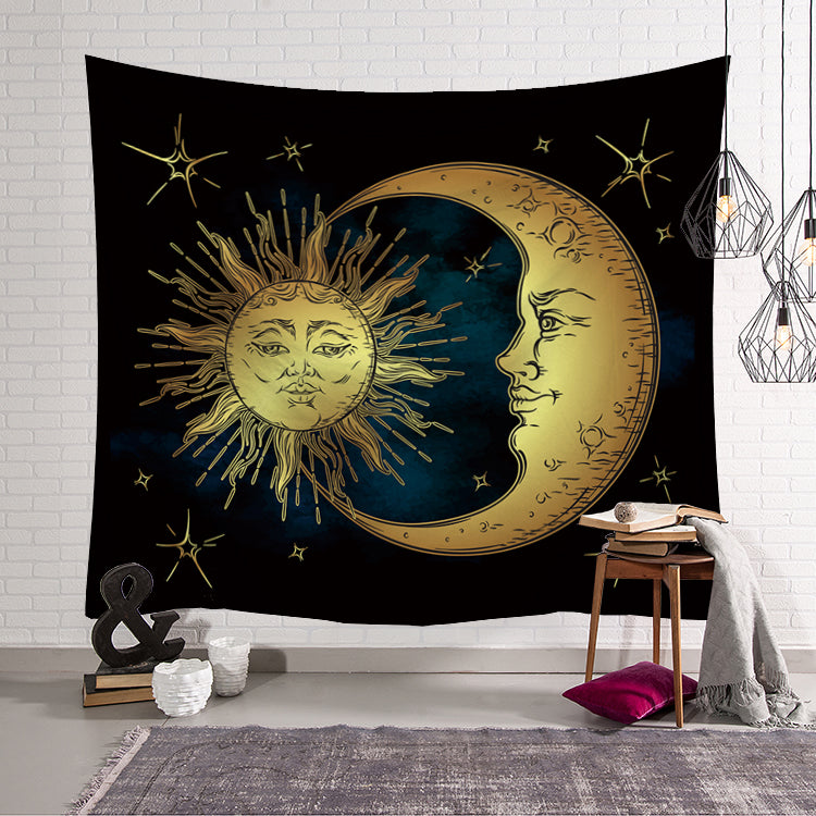 Mythic Old Sun and Moon Face Tapestry