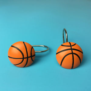 NBA Resin Basketball Shower Curtain Rings Hooks