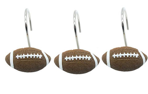 NFL Resin Football Shower Curtain Rings Hooks