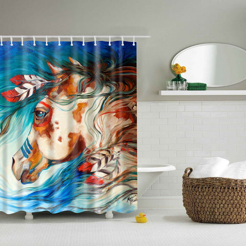 Native American Indians Horses Art Shower Curtain | GoJeek