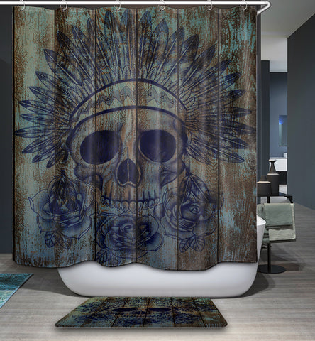 Native American Skull Wood Print Doccia Curtain