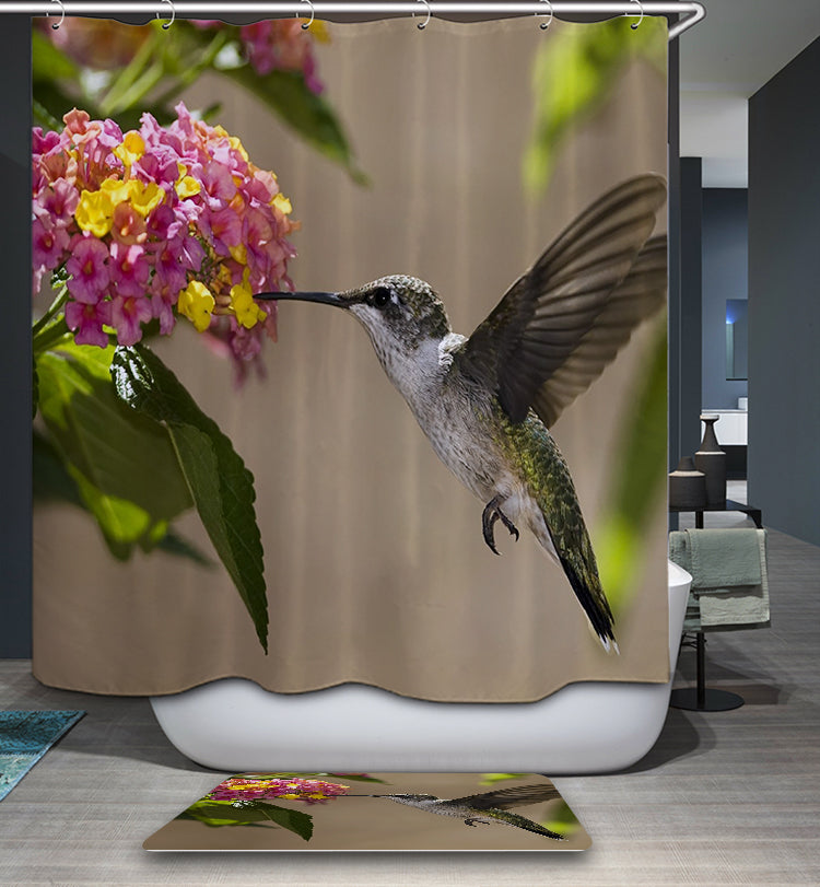 Natural Colibri Feeding Flowers Hummingbird Shower Curtain