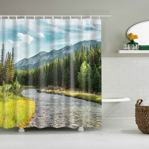 Natural Mountain Stream Relaxing Tranquil Shower Curtain