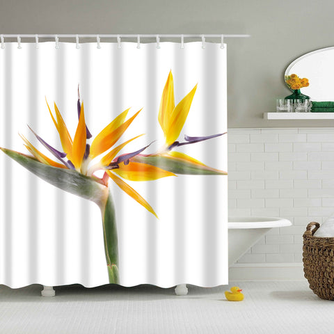 Natural Bamboo Blossom Shower Curtain