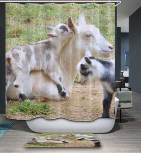 Natural Farmhouse Style Goat Shower Curtain