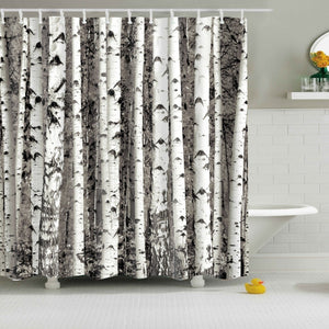 Nature Birch Forest Shower Curtain | GoJeek