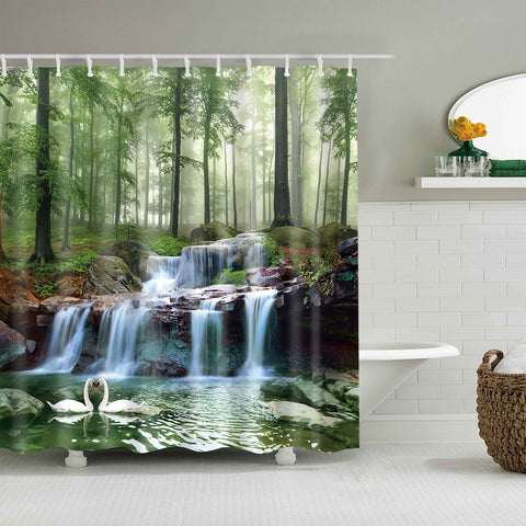 Nature Landscape Lake Deep Forest Waterfall Shower Curtain