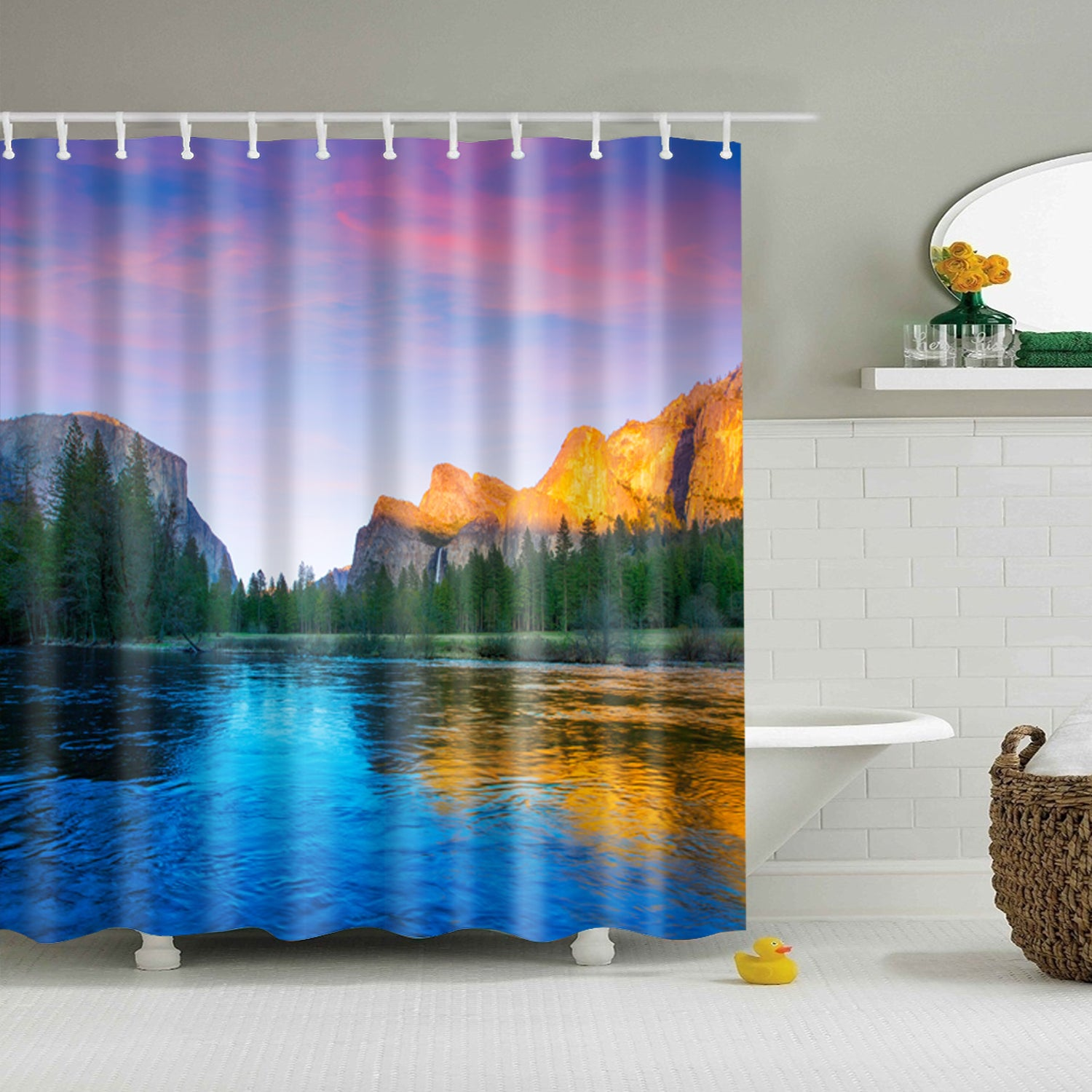Nature Mountain Lake Reflections Shower Curtain
