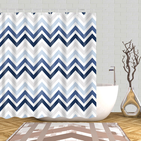 Nautical Design Zigzag Blue Stripe Shower Curtain