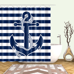 Nautical Blue White Stripe Anchor Shower Curtain