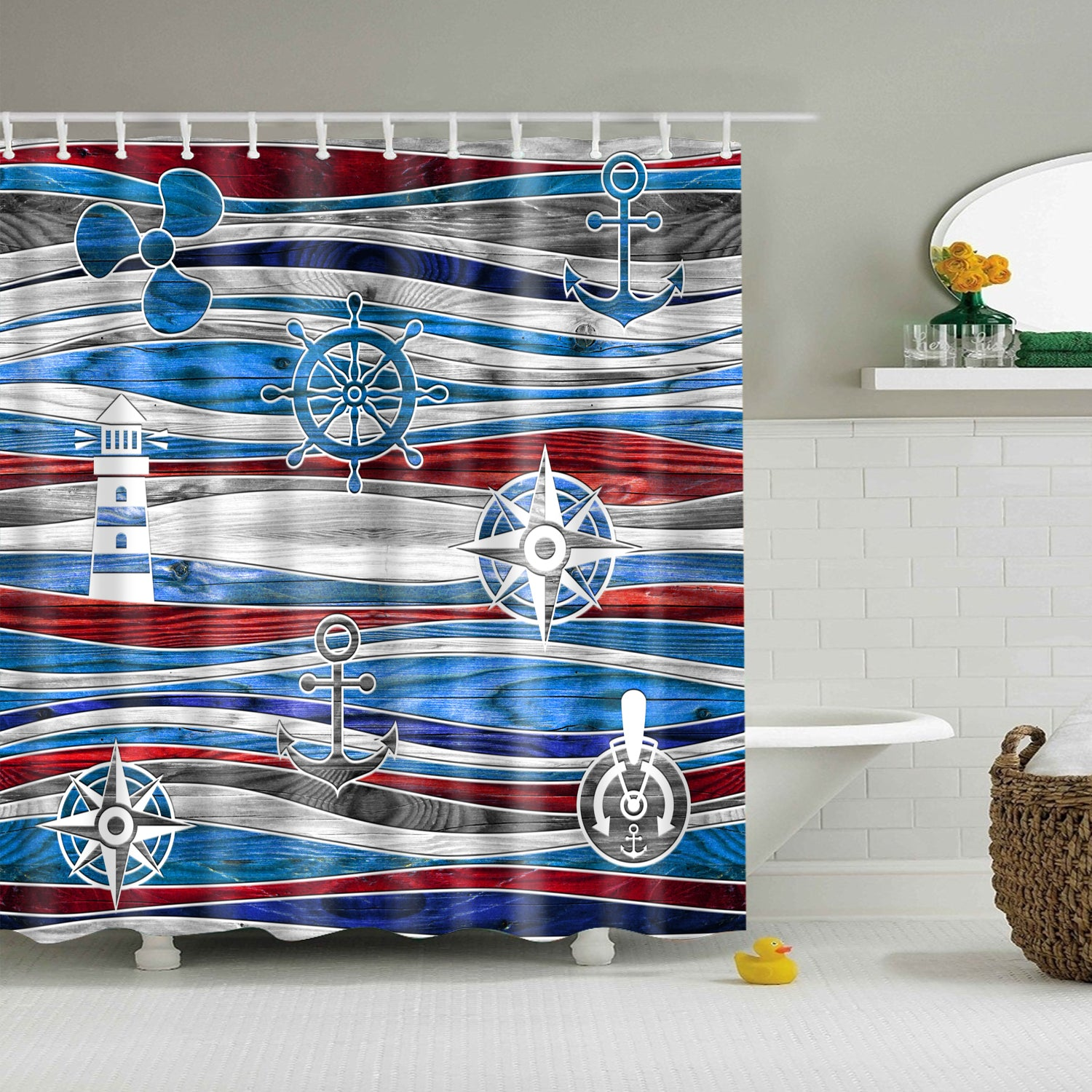 Nautical Elements Marine Waves Wood Grain Shower Curtain Bathroom Decor