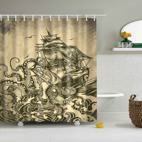 Nautical Sailboat Octopus Kraken Shower Curtain GOJeek