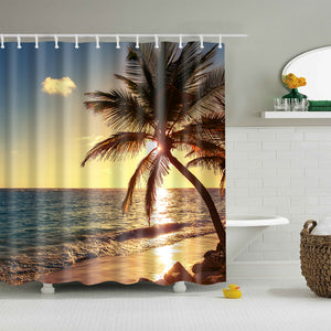 Nautical Sunset Palm Tree Shower Curtain