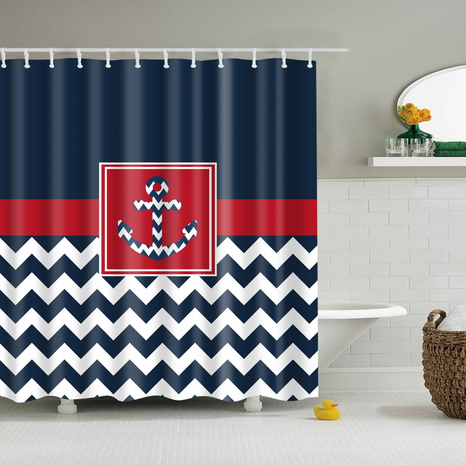 Nave Blue Chevron Anchor Shower Curtain