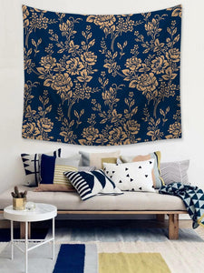 Navy Blue Seamless Gold Rose Tapestry