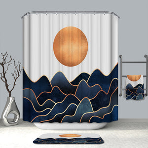 Navy Ocean Blue with Gold Flowing Seawater Orange Sun Abstract Ocean Shower Curtain