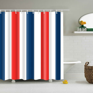 Navy Blue White Red Striped Shower Curtain