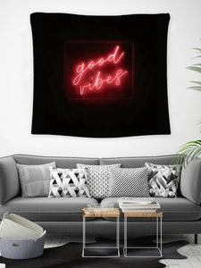 Neon Poster Black Red Good Vibes Tapestry