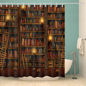Nerdy Ancient Bookshelf Shower Curtain | GoJeek