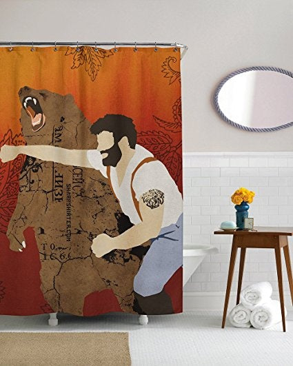 Nerdy Haymaker Man Punching Bear Shower Curtain