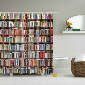 Nerdy Library Bookshelf Shower Curtain | GoJeek