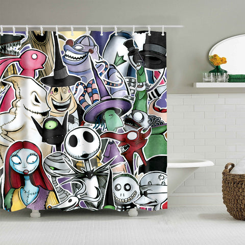 Nightmare Before Christmas Characters Design Shower Curtain