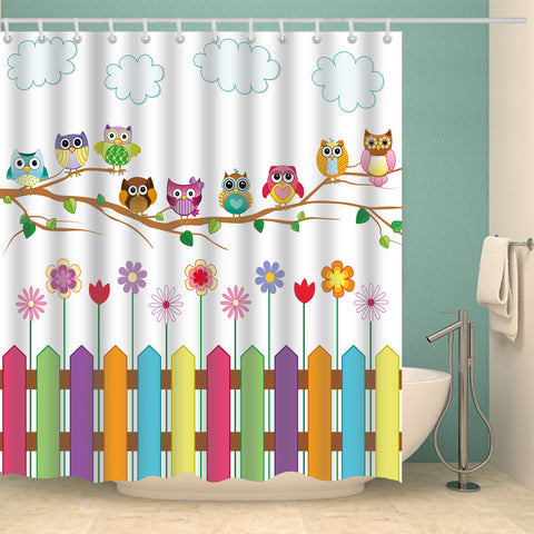 Nine Different Design Owls Hanging Tree Kids Shower Curtain