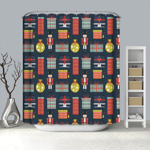 Nutcracker with Christmas Gifts Shower Curtain