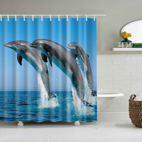 Ocean Reallife Jumping Dolphin Shower Curtain