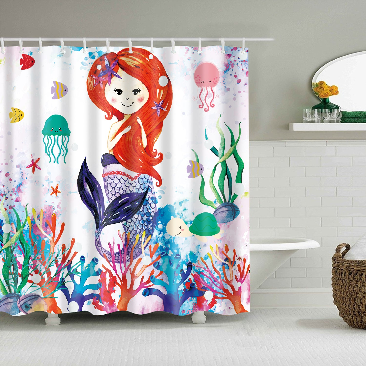 Ocean Scene Coral Kids Mermaid Shower Curtain Bathroom