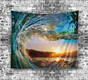 Ocean Waves at Sunset Tapestry