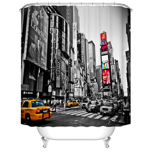 Off-White Photo New York City Theater District Time Square Shower Curtain