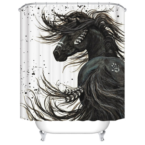 Oil Painting Unique Hairstyle Indian Black Horse Shower Curtain