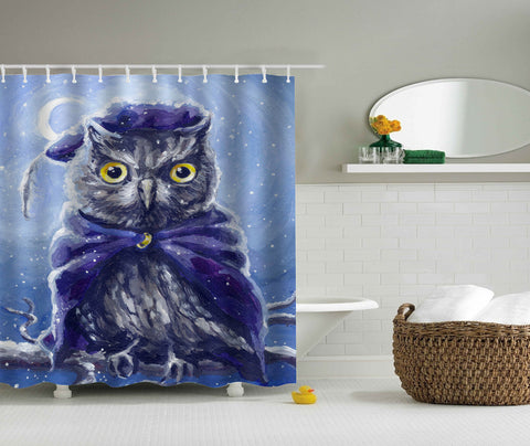 Oil Painting Illustration Owl Shower Curtain | GoJeek