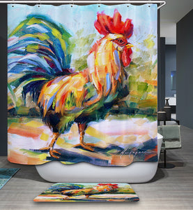 Oil Painting Palette Knife Rooster Chicken Shower Curtain