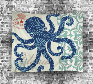 Oil Painting Print Blue Octopus Tapestry | GoJeek