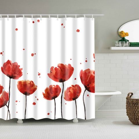Oil Painting Red Opium Poppy Shower Curtain