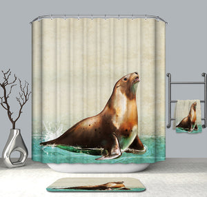 Oil Painting Sea lion Shower Curtain