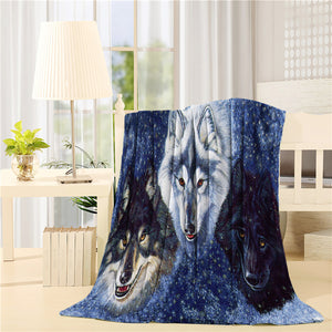 Oil Painting Three Wolf Throw Blankets