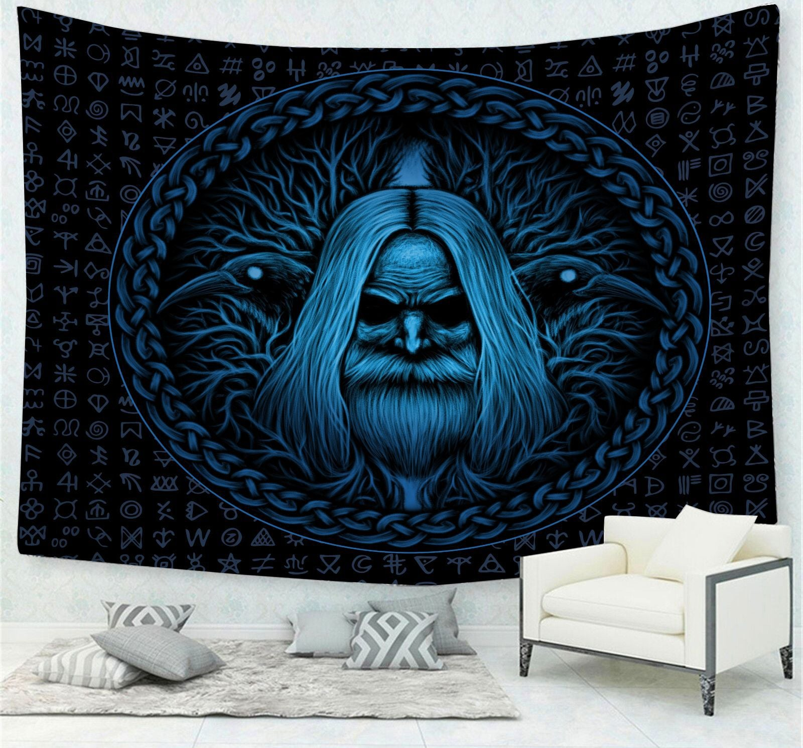 Old Norse God Runic Symbols Crows and Tree Odin Tapestry