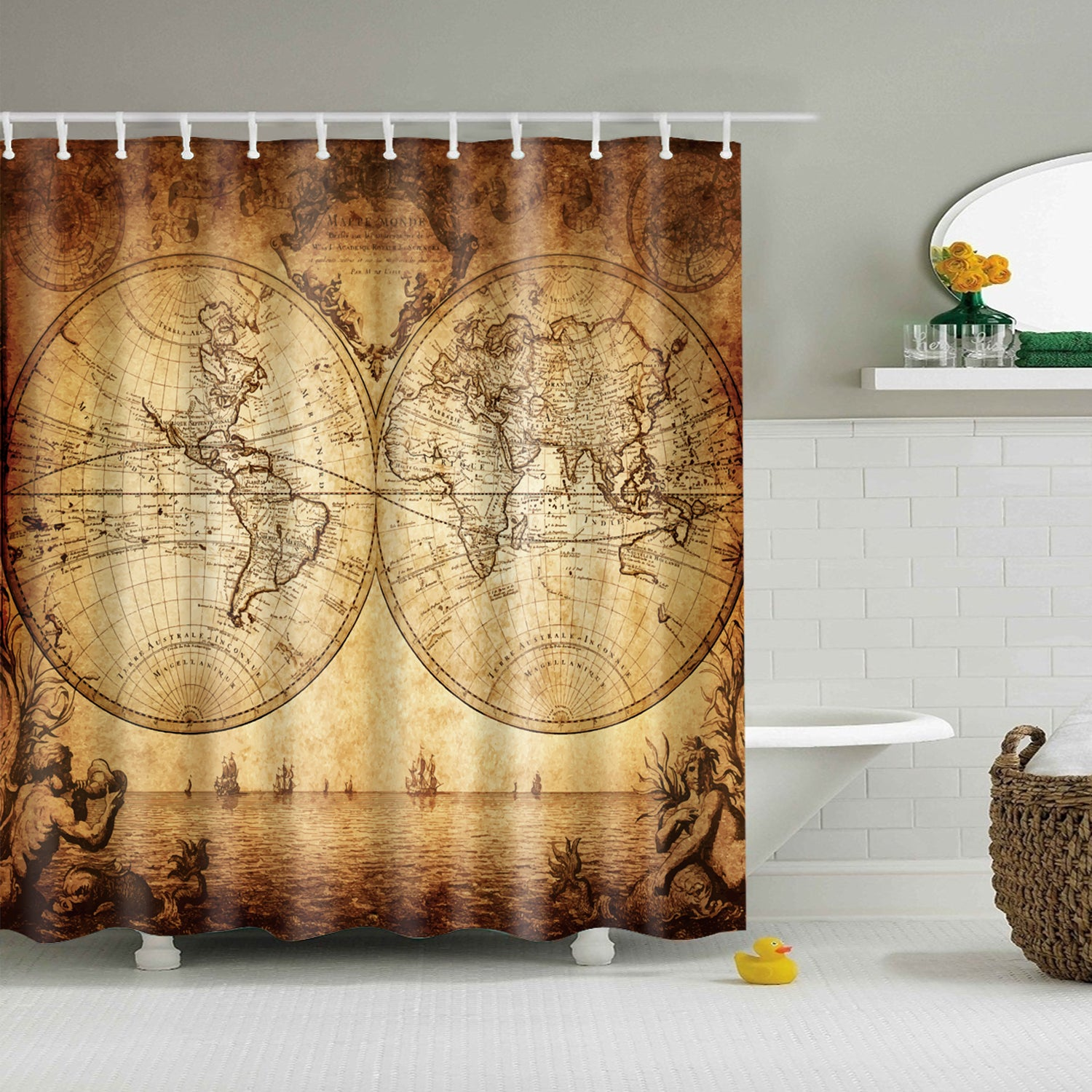 Old Portolan Charts Map Shower Curtain