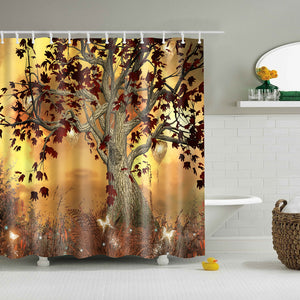Old Twisted Tree Painting Shower Curtain