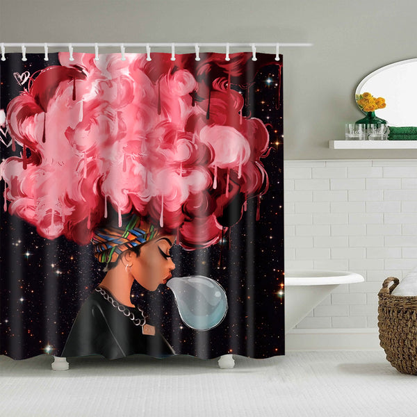 Afro African Black Girl Magic Shower Curtain Bathroom Decor