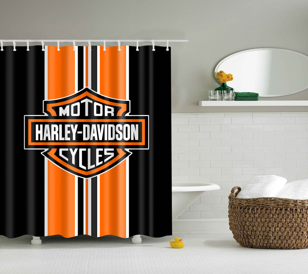 Orange Harley Davidson Stripe Shower Curtain