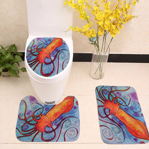 Orange Squid Octopus Art Toilet Seat Cover