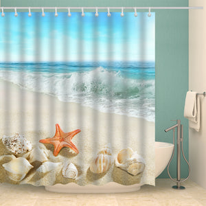 Orange Starfish Shower Curtain White Conch Seashell Summer Beach Bathroom Curtains