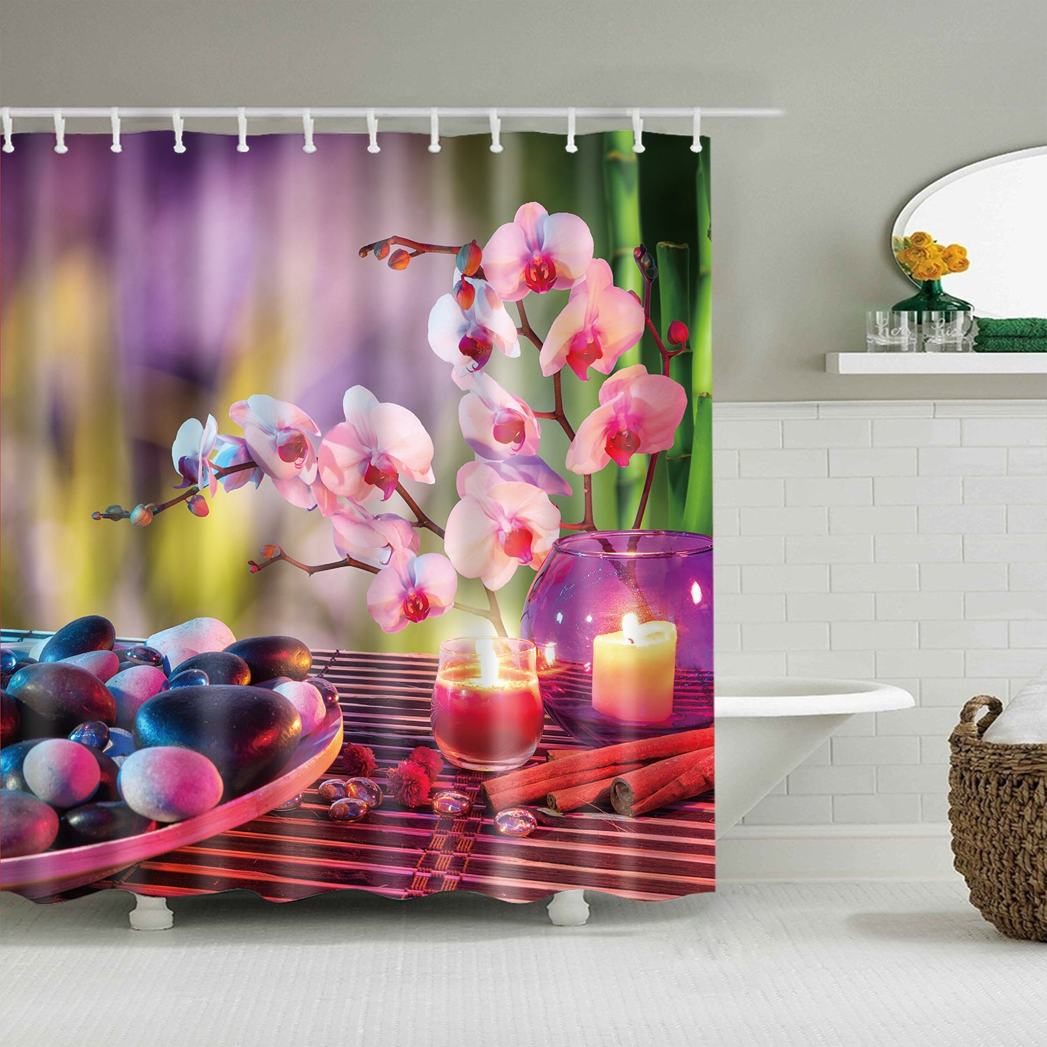 Orchid Flowers Candle Zen Stone Feng Shui Shower Curtain