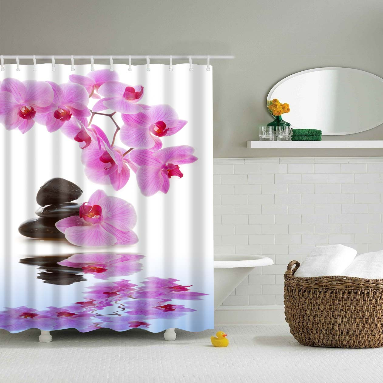 Orchids and Stones Pond Shower Curtain | GoJeek